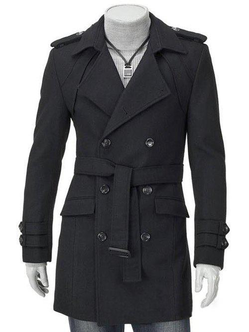 Men's Turn-Down Collar Epaulet Design Double Breasted Long Sleeve Woolen coat - BLACK 2XL