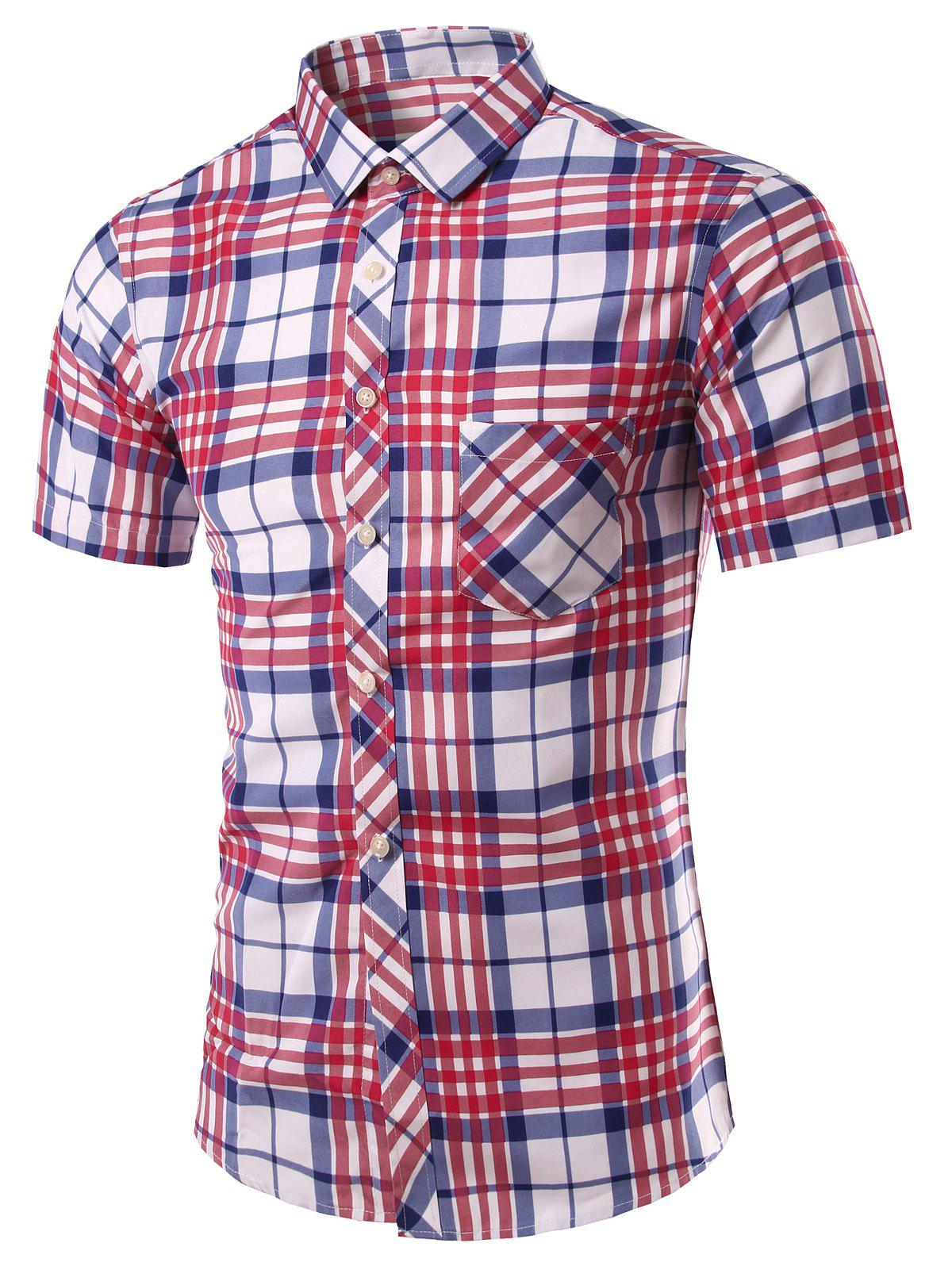 Stylish Checked Turn-Down Collar Short Sleeve Men's Shirt - RED L