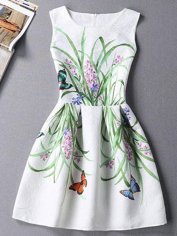 Cute Plant Print Sleeveless Round Neck Women's Mini Dress - WHITE L