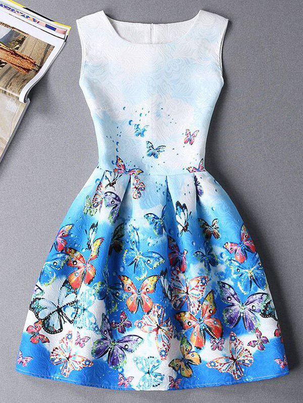 Cute Butterfly Print Ombre Sleeveless Round Neck Women's Dress - BLUE XL