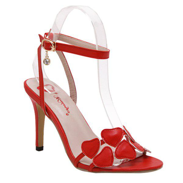 Fashionable Transparent Plastic and Heart Pattern Design Women's Sandals - RED 38