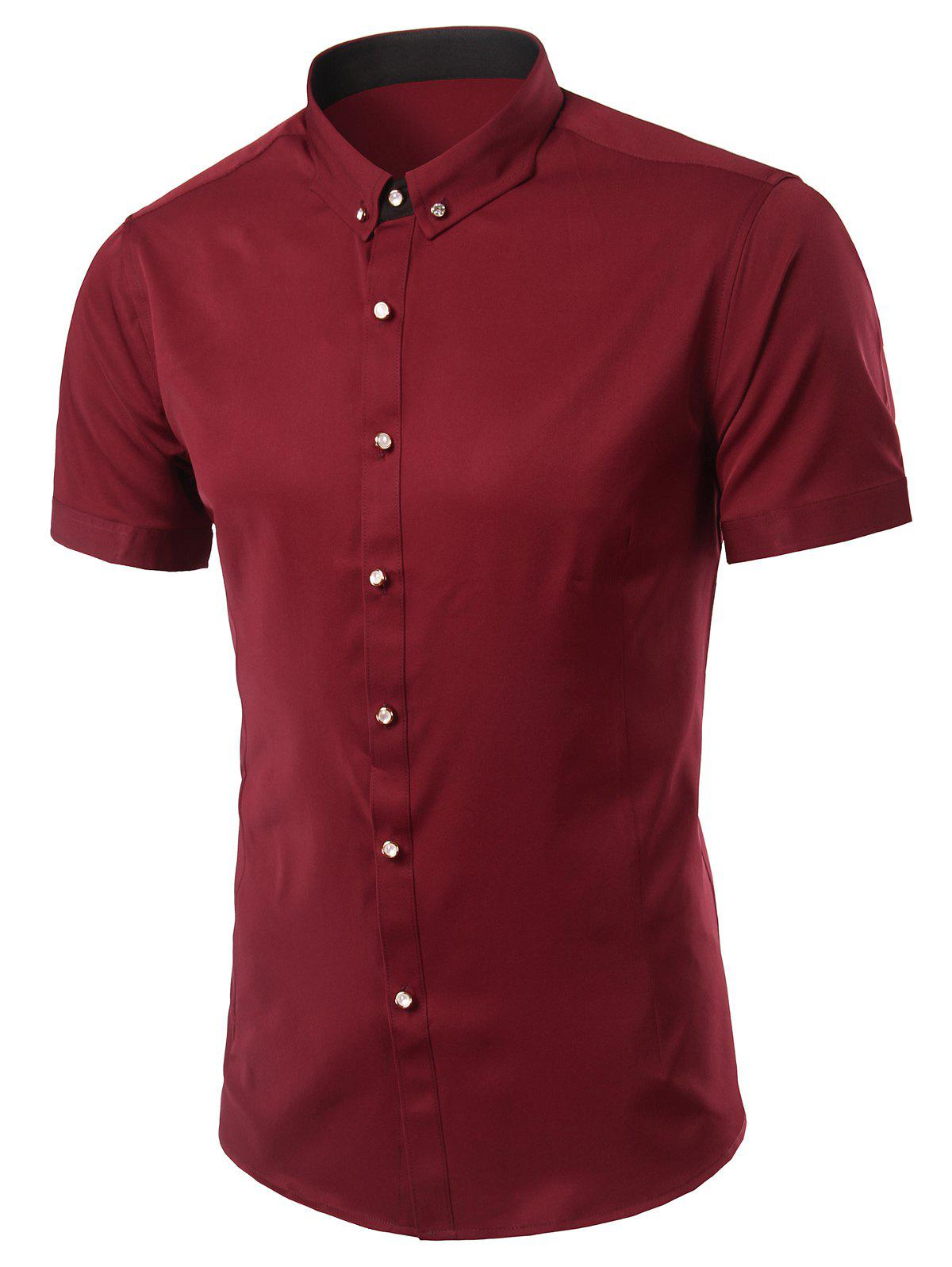Stylish Button-Down Turn-Down Collar Short Sleeve Men's Shirt - RED M