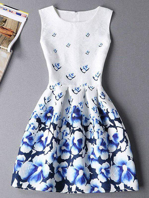 Stylish Floral Print Sleeveless Round Neck Women's Mini Dress - BLUE/WHITE XL