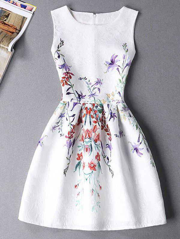 Sweet Floral Print Sleeveless Round Neck Women's Mini Dress