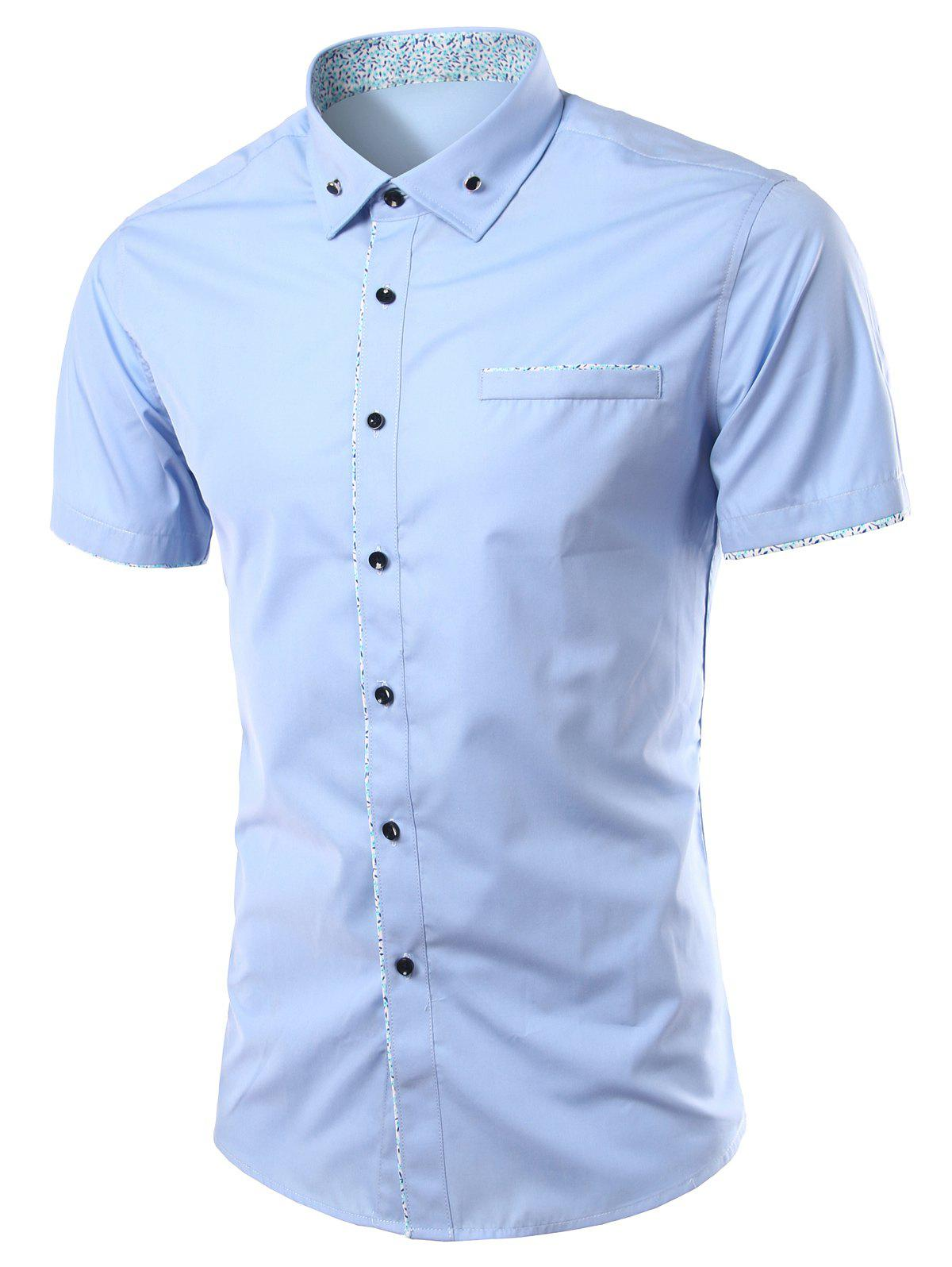 Stylish Color Block Spliced Turn-Down Collar Short Sleeve Men's Shirt - LIGHT BLUE 4XL