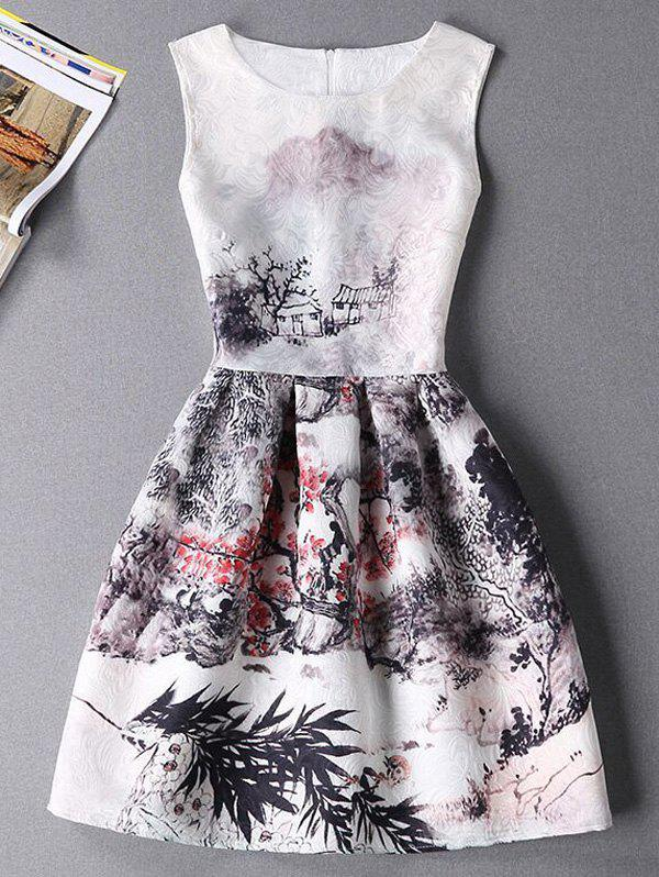 Stylish Oil Painting Print Sleeveless Round Neck Women's Dress - WHITE XL