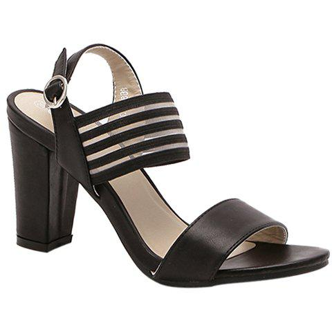 Fashionable Elastic Band and Chunky Heel Design Women's Sandals - BLACK 39