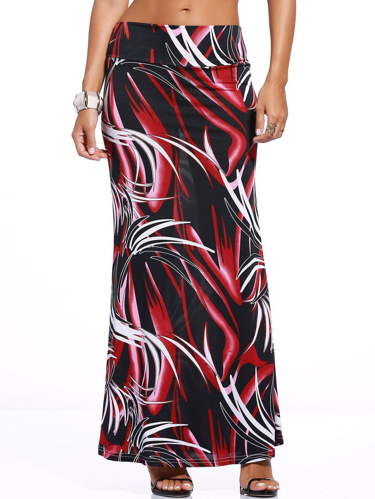 Chic Tie Dye Over Hip Skirt For Women - RED/BLACK 3XL