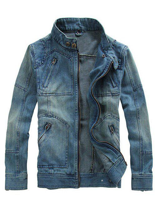 Men's Hooded Design Zipper Embellishment Long Sleeve Denim Jacket - 5XL DENIM BLUE