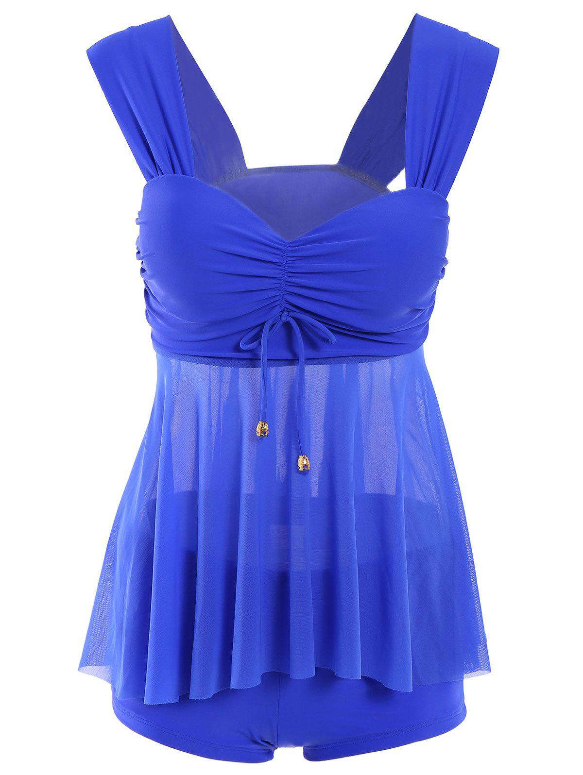 Fresh Style Sweetheart Neck Solid Color See-Through Women's Swimwear - SAPPHIRE BLUE 2XL