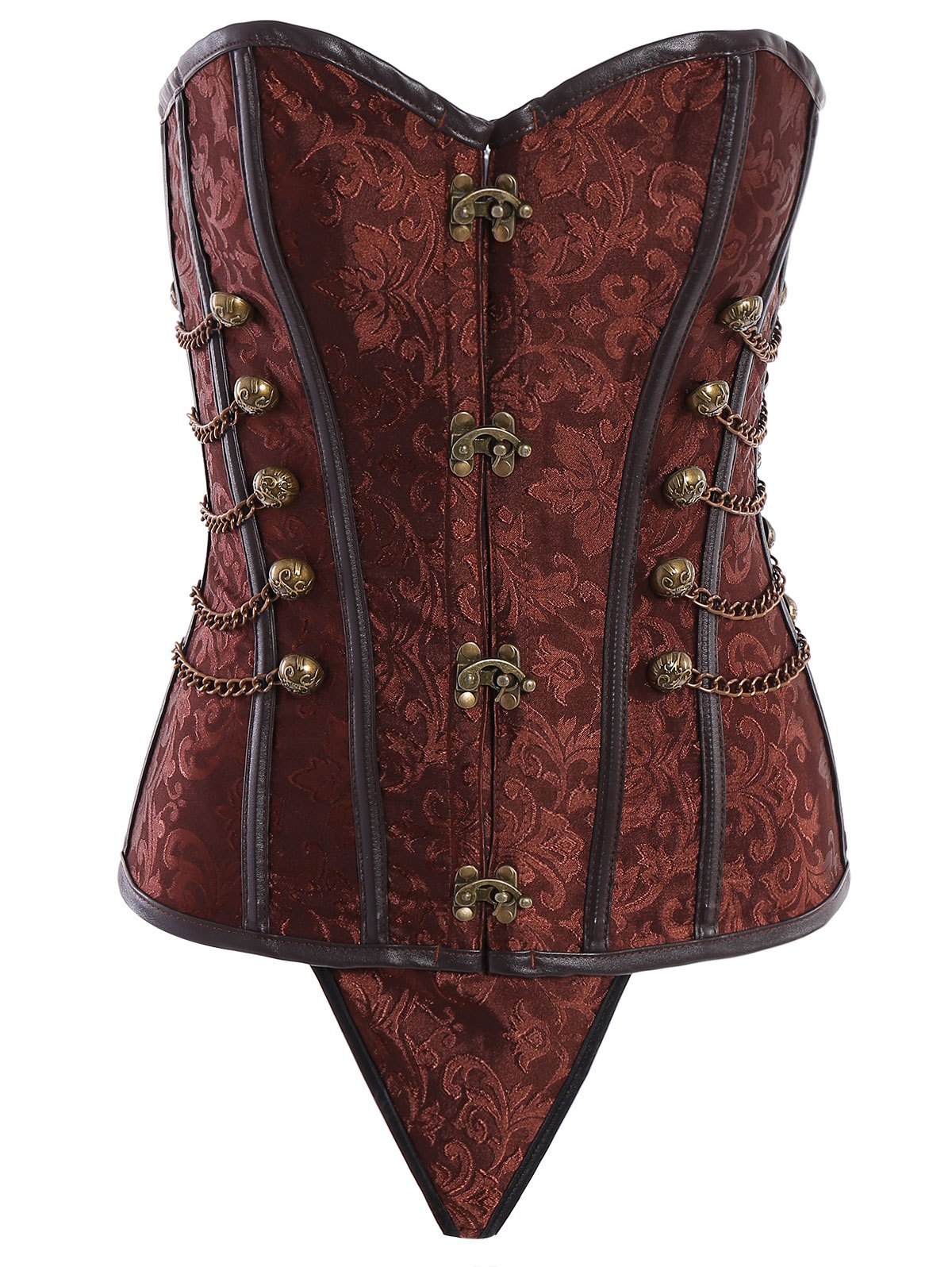 Vintage Steampunk Alloy Chain Lace-Up Corset For Women - BROWN L