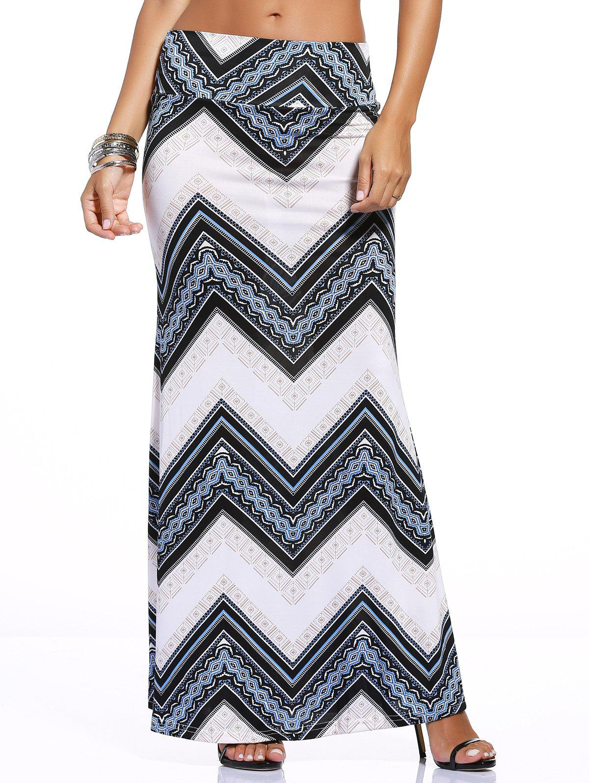 Chic Zigzag Print Over Hip Skirt For Women - BLUE/WHITE 3XL