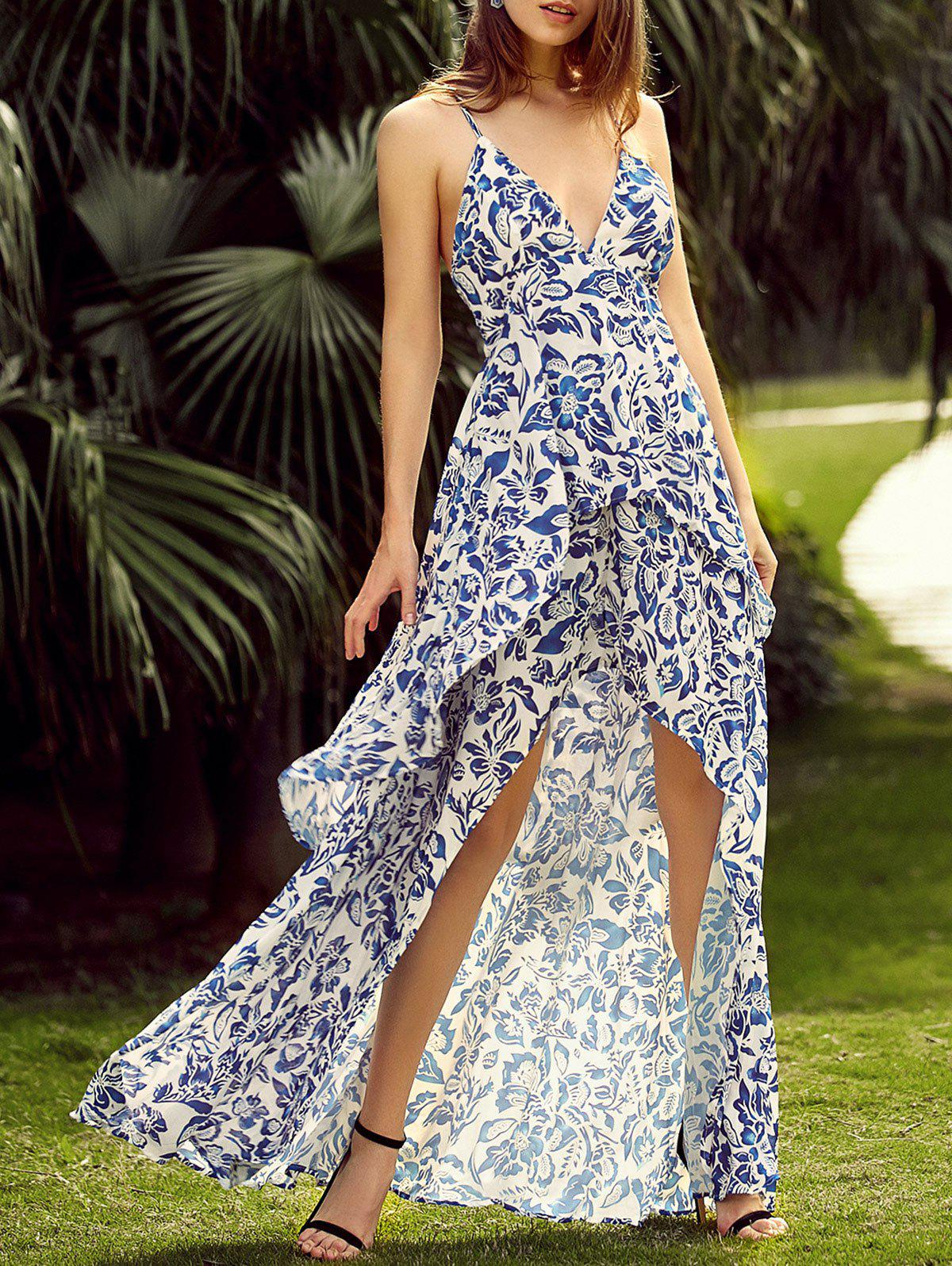 Full Print Sleeveless High Low Backless Maxi Dress - BLUE 2XL