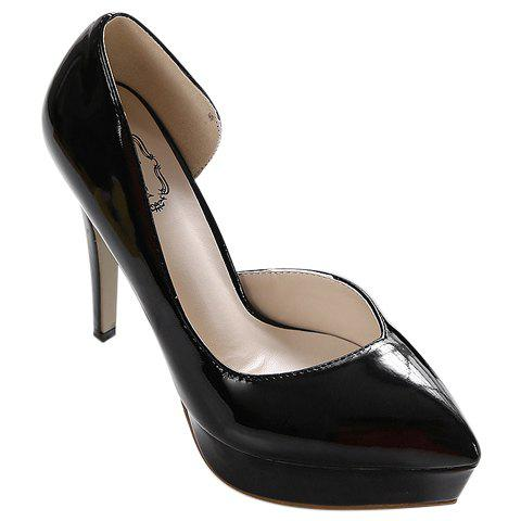 Fashionable Patent Leather and Pointed Toe Design Women's Pumps - BLACK 38