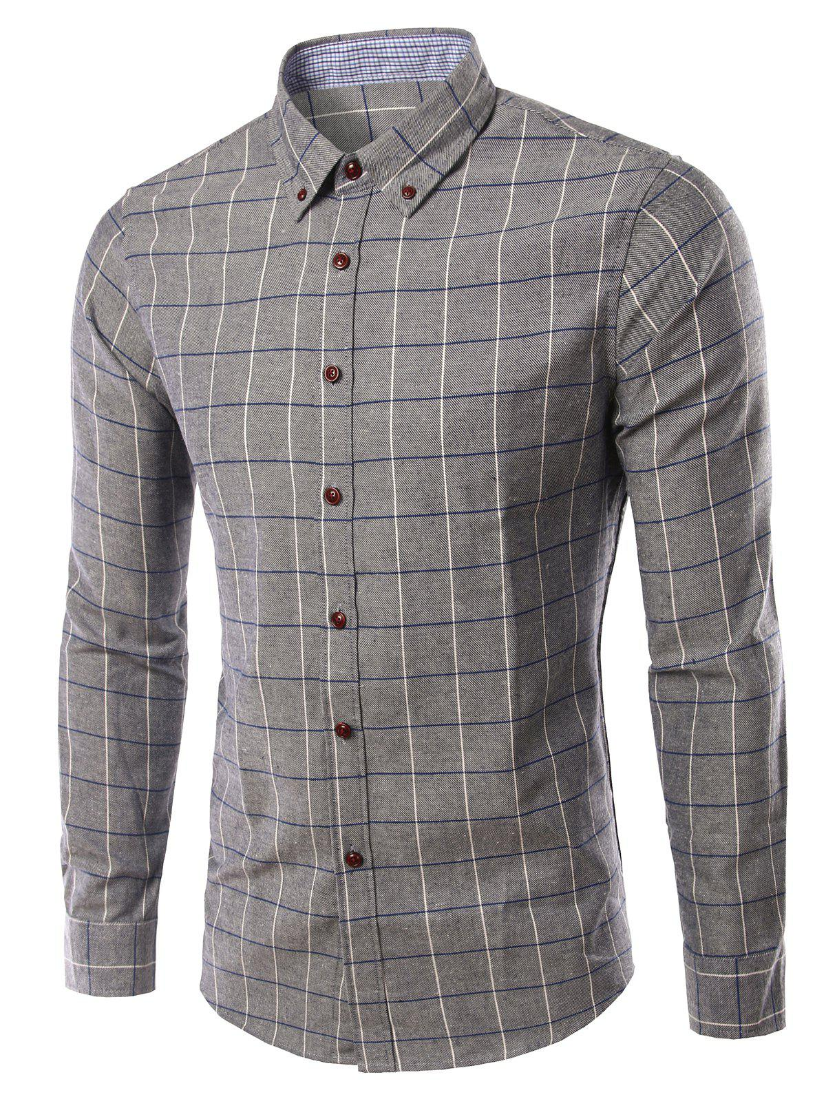 Stylish Checked Turn-Down Collar Long Sleeve Mens ShirtMen<br><br><br>Size: 2XL<br>Color: GRAY