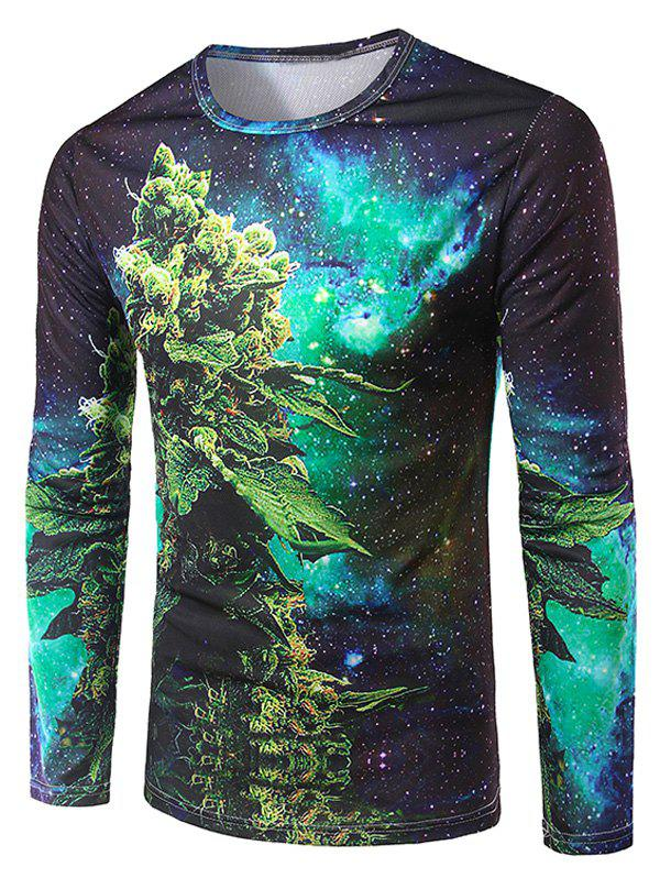 Men's Slimming 3D Plant Printing Collarless Long Sleeves - COLORMIX 2XL