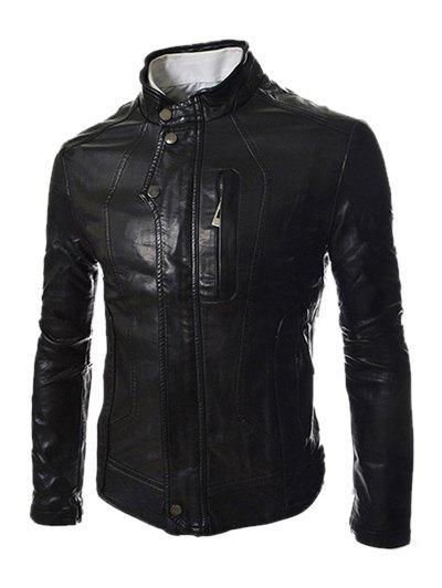 Men's PU Leather Stand Collar Zipper Design Long Sleeves Slimming Jacket - BLACK XL