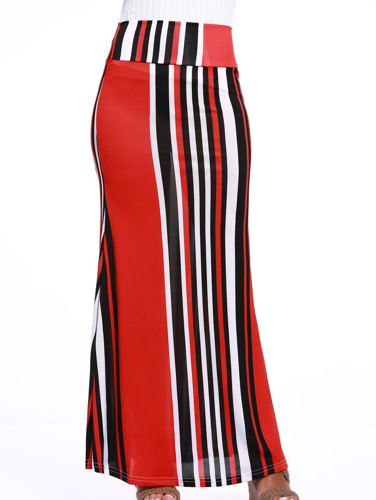 Chic Colorful Striped Over Hip Skirt For Women - BLACK/WHITE/RED 2XL