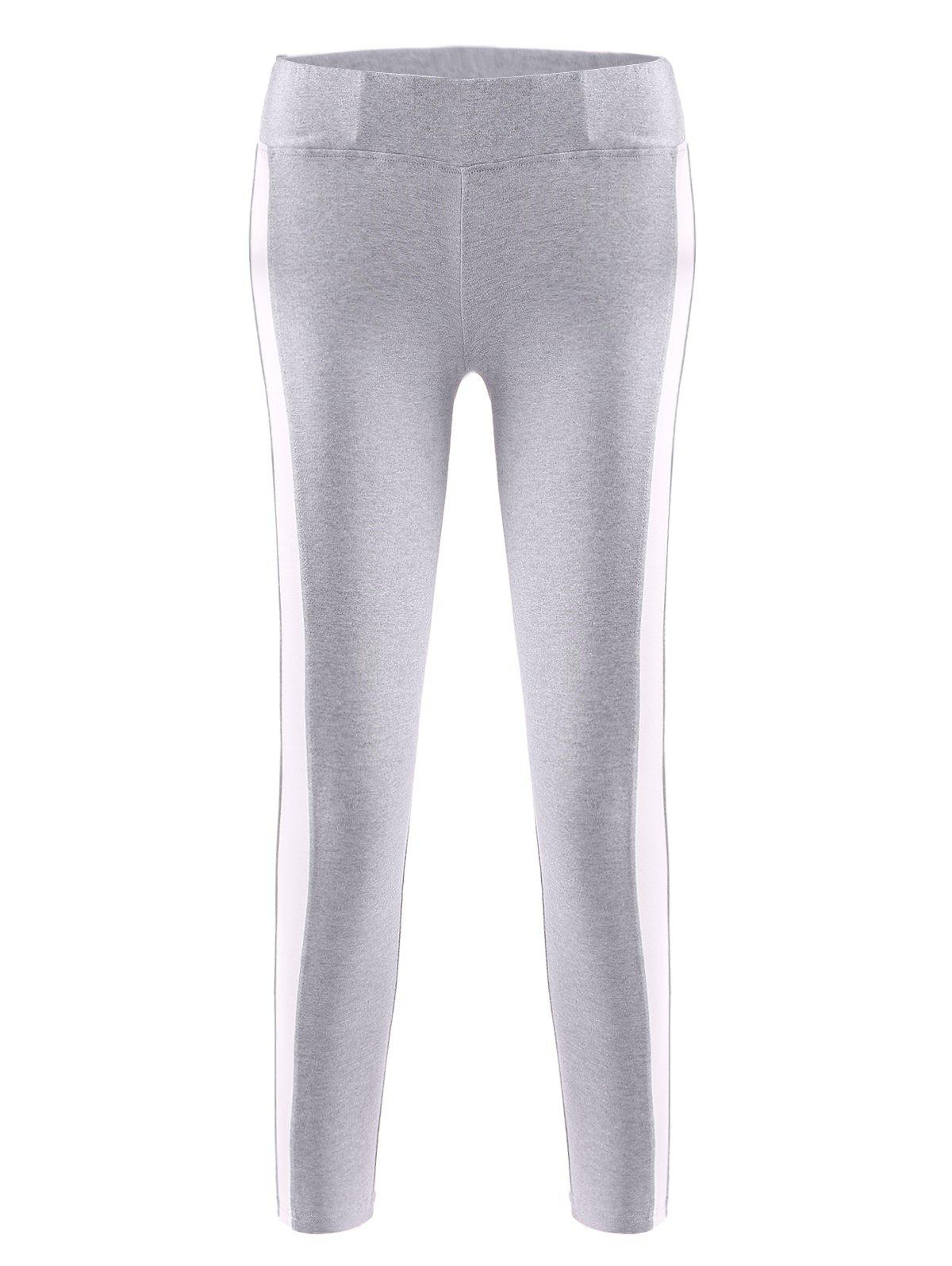 Active High Waist Side Hit Color Bodycon Stretchy Sport Pants For Women - LIGHT GRAY S