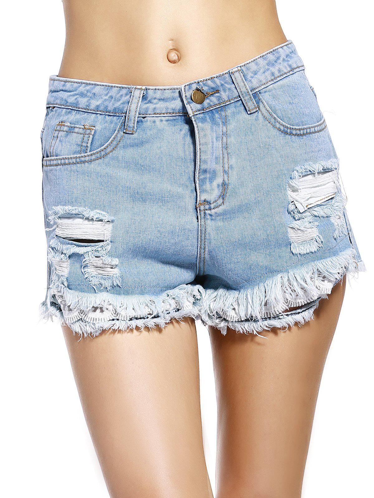 Chic Fringed Pocket Design Broken Hole Women's Denim Shorts