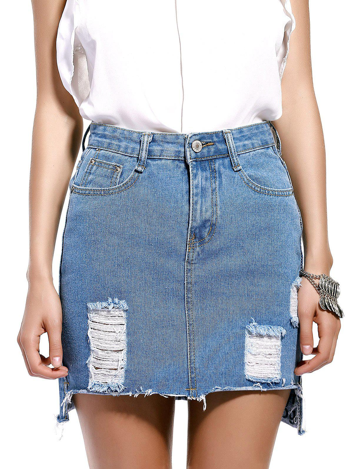 Chic Frayed Pocket Design Women's Denim Skirt - BLUE M