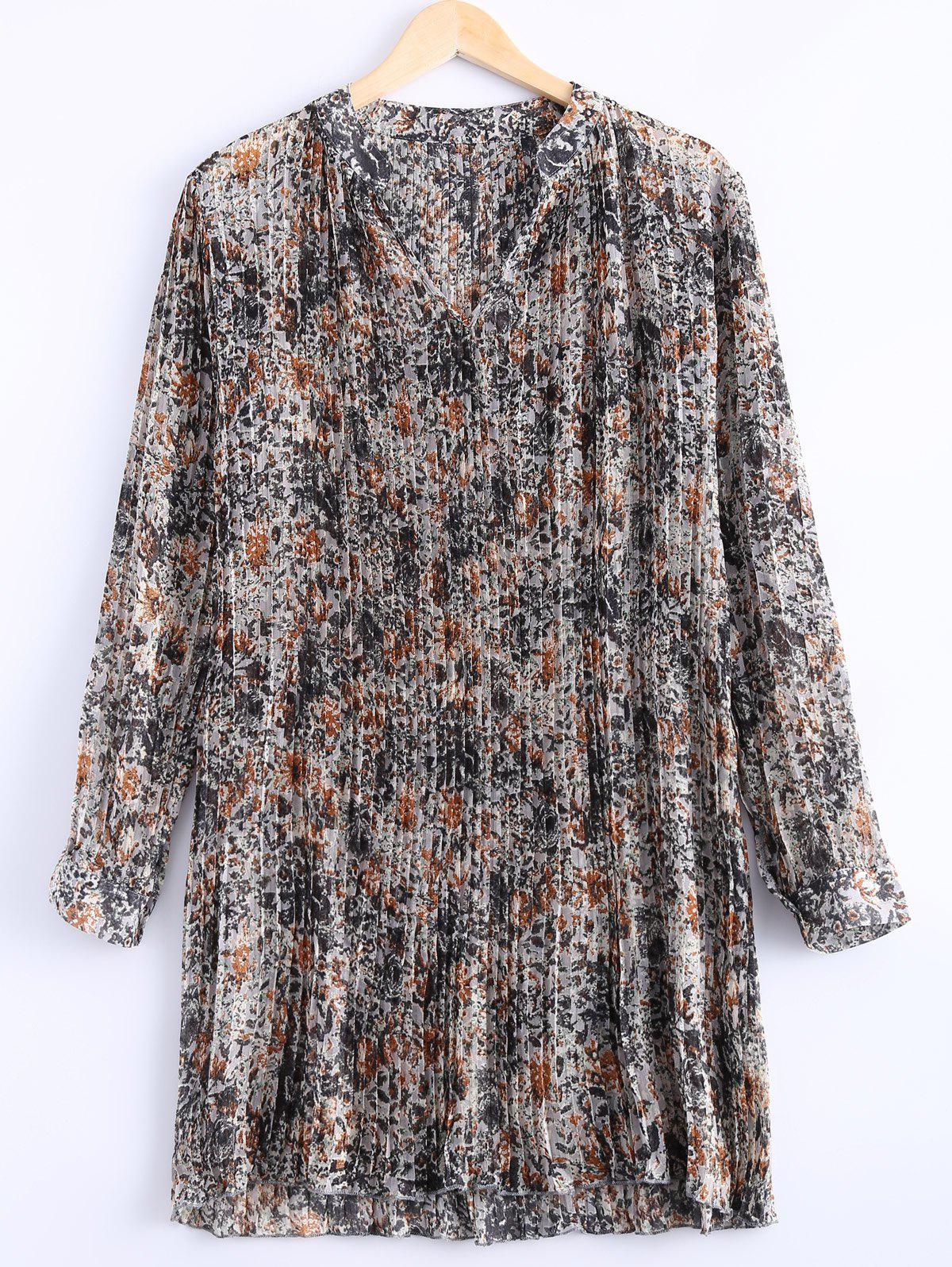 Stylish Women's V Neck Floral Print Long Sleeves Dress - GINGER ONE SIZE(FIT SIZE XS TO M)