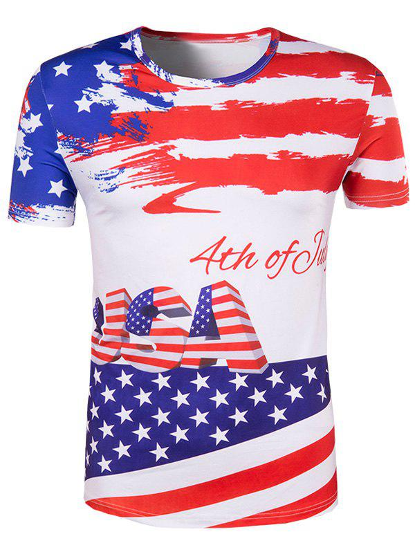 Men's Slimming Flag Printing Collarless Short Sleeves - COLORMIX 2XL