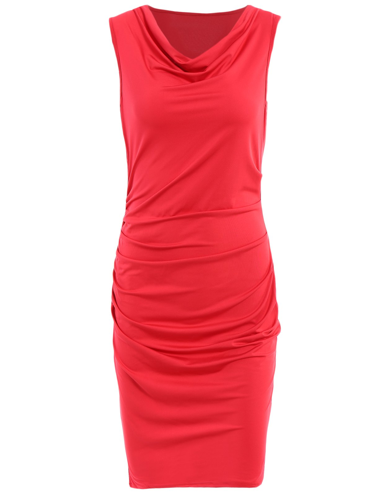 Alluring Style V Neck Sleeveless Solid Color Sheathy Women's Dress - RED M