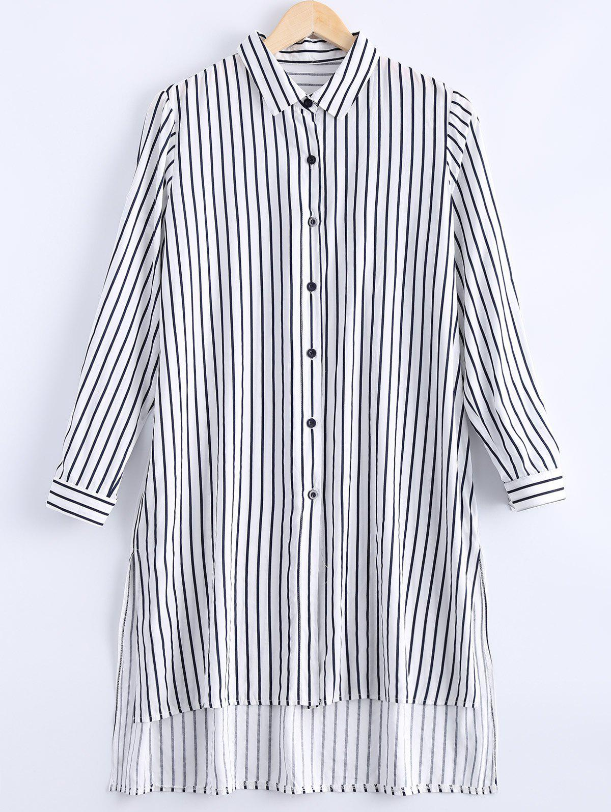 Casual Women's Asymmetric Botton Down Collar Striped Shirt Dress - DEEP BLUE ONE SIZE(FIT SIZE XS TO M)
