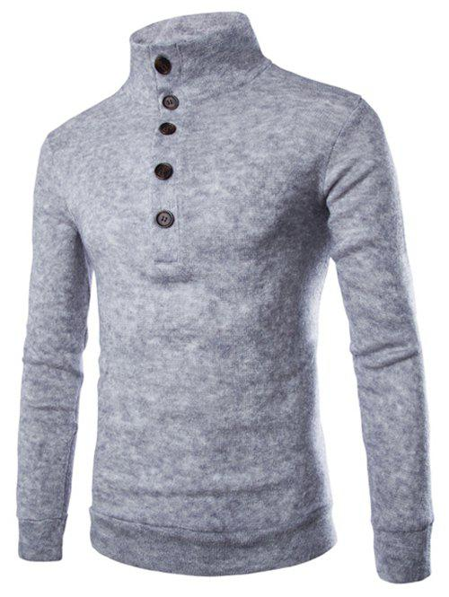 Men's Casual Stand Collar Button Design Long Sleeves Sweater - LIGHT GRAY L
