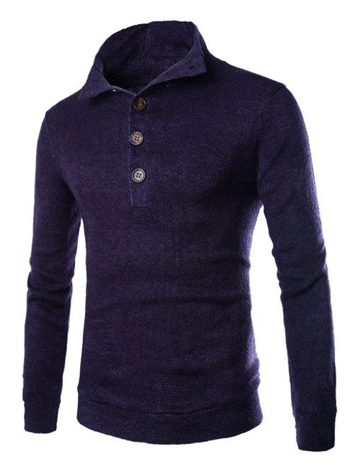 Men's Casual Stand Collar Button Design Long Sleeves Sweater - CADETBLUE 2XL