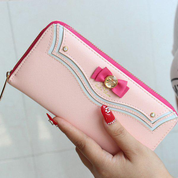 Casual Bow and Metal Design Women's Wallet - PINK