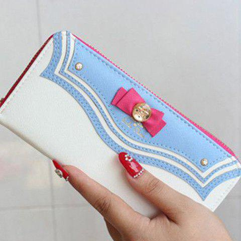 Casual Bow and Metal Design Women's Wallet - WHITE