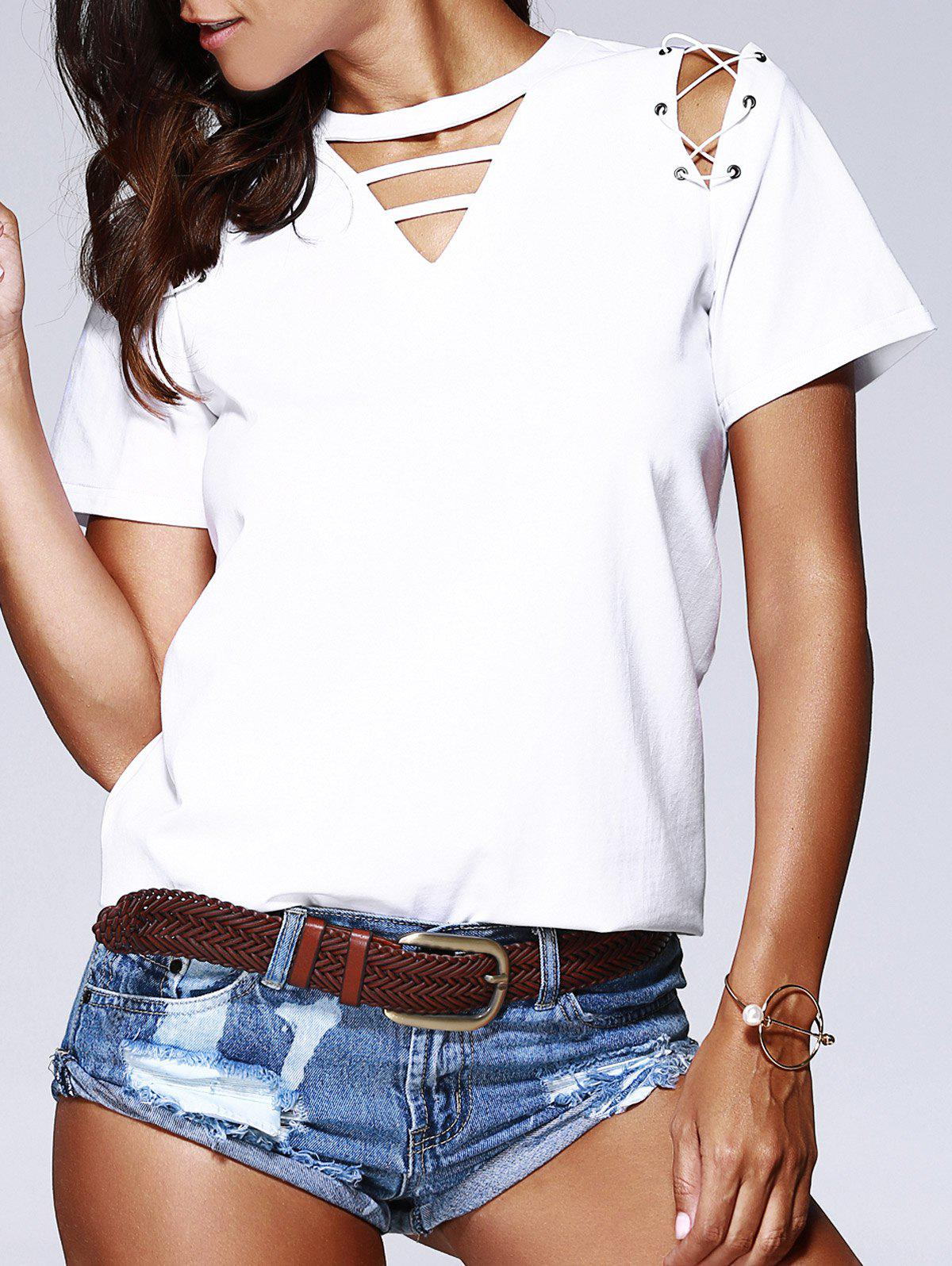 Fashionable Round Neck Cut-Out Top With Lace-Up For Women - WHITE M