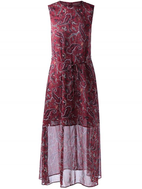 Retro Style Round Collar Sleeveless Dress With paisley Printing For Women - WINE RED L