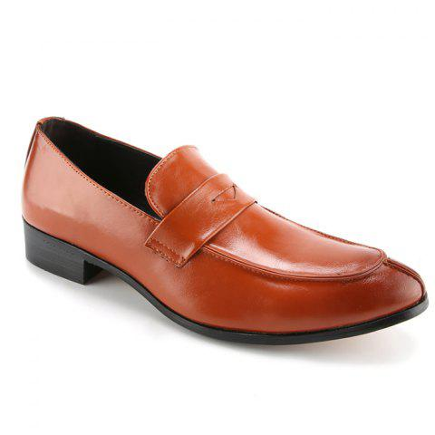Trendy Solid Colour and PU Leather Design Men's Formal Shoes - BROWN 43