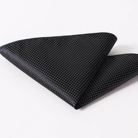 Fashion Small Checkered and Dots Pattern Wedding or Party Business Suit Pocket Square - BLACK