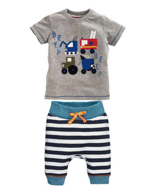 Casual Boy's Cartoon Print Short Sleeve T-Shirt + Striped Cropped Pants Twinset - GRAY 100