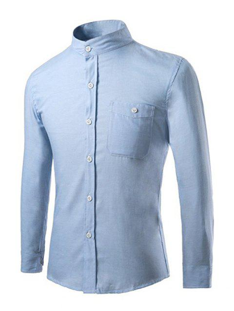 Men's Casual Stand Collar Solid Color Long Sleeves Shirts - AZURE L