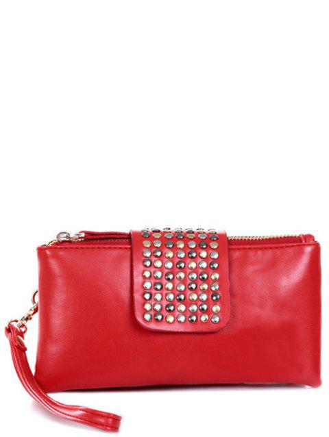 Trendy Rivet and Solid Color Design Clutch Bag For Women - RED