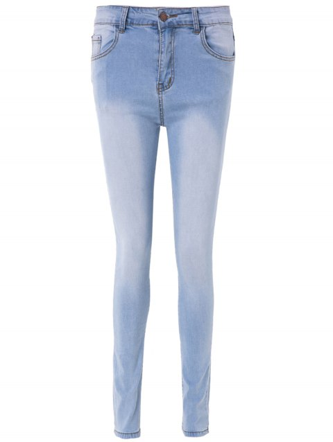 Simple High-Waisted Blench Wash Skinny Women's Jeans - LIGHT BLUE L