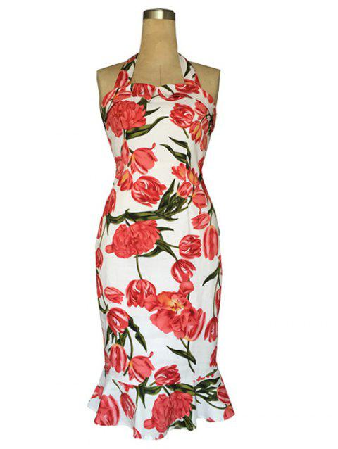 Chic Halter Trumpet Floral Print Sheath Dress For Women - WHITE M