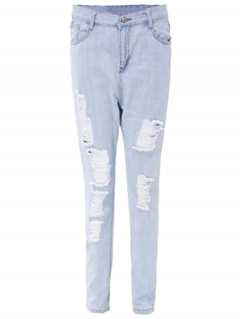 Stylish High-Waisted Ripped Slimming Frayed Women's Ninth Jeans - Bleu Clair M