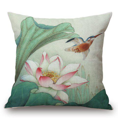 Traditional Chinese Water Lily Painting Pattern Square Shape Pillowcase - COLORMIX