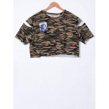 Stylish Camouflage Cold Shoulder Top For Women - CAMOUFLAGE XL