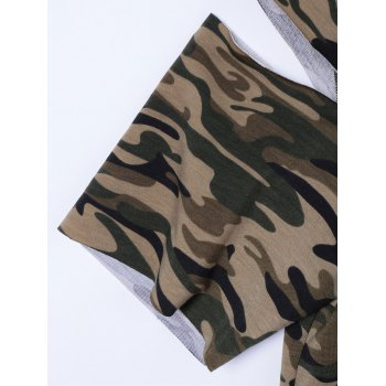 Stylish Camouflage Cold Shoulder Top For Women - L L