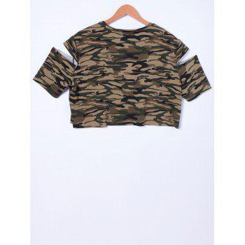 Stylish Camouflage Cold Shoulder Top For Women - CAMOUFLAGE M