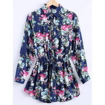 Vintage Women's Long Sleeves Floral Print Shirt Dress