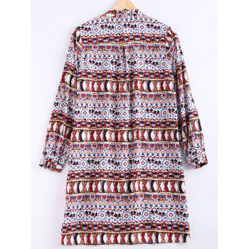 Ethnic Style Women's Round Collar Printed Shirt Dress - DEEP RED ONE SIZE(FIT SIZE XS TO M)