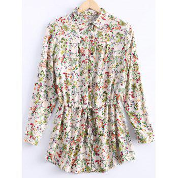Vintage Women's Long Sleeves Drawstring Waist Floral Shirt Dress